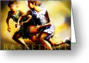 Basketball Greeting Cards - Women in Sports - Basketball Greeting Card by Mike Massengale