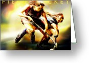 Ladies Greeting Cards - Women in Sports - Field Hockey Greeting Card by Mike Massengale