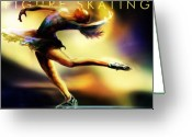 Ice Skating Greeting Cards - Women in Sports - Figure Skating Greeting Card by Mike Massengale