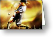 Athlete Greeting Cards - Women in Sports - Softball Greeting Card by Mike Massengale