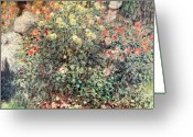 Jardin Greeting Cards - Women in the Flowers Greeting Card by Claude Monet