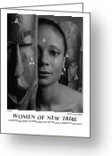 African American Female Greeting Cards - Women Of A New Tribe - Faces Greeting Card by Jerry Taliaferro