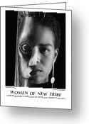 African American Female Greeting Cards - Women Of A New Tribe - Kim With Mask Greeting Card by Jerry Taliaferro