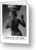 African American Female Greeting Cards - Women Of A New Tribe - Veronica with Basket Greeting Card by Jerry Taliaferro