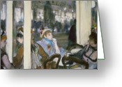 Meeting Pastels Greeting Cards - Women on a Cafe Terrace Greeting Card by Edgar Degas
