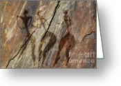 Primitive Mixed Media Greeting Cards - Women On Rock Greeting Card by Michal Boubin