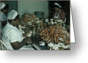 Blue Crab Greeting Cards - Women Pick And Pack Crab Meat Into Cans Greeting Card by Robert Sisson