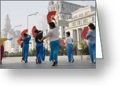 The Bund Greeting Cards - Women Practising Tai Chi With Fans On The Bund Greeting Card by John Banagan