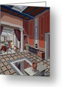 Domestic Scenes Greeting Cards - Women Relax In A Parlor Of A Rich Greeting Card by H.M. Herget