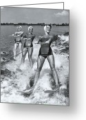 20-24 Years Greeting Cards - Women Waterskiers In Line (b&w) Greeting Card by Hulton Archive