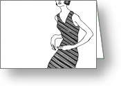 Addison Greeting Cards - Women With Stripe Dress Greeting Card by Karl Addison