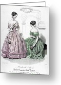 Corsage Greeting Cards - Womens Fashion, 1843 Greeting Card by Granger