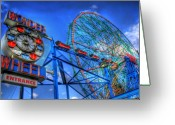 Rides Greeting Cards - Wonder Wheel Greeting Card by Bryan Hochman