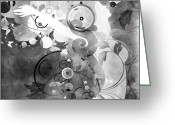 Amaze Greeting Cards - Wondrous BW Greeting Card by Angelina Vick