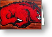 Arkansas Greeting Cards - Woo Pig Sooie Greeting Card by Laura  Grisham