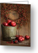 Eat Greeting Cards - Wood bucket of apples for the holidays Greeting Card by Sandra Cunningham