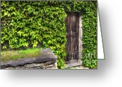 Old Lock Greeting Cards - Wood door Greeting Card by Mats Silvan