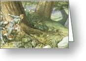 Elves Greeting Cards - Wood Elves Hiding and Watching a Lady Greeting Card by Richard Doyle