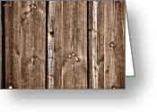 Wood Plank Flooring Greeting Cards - Wood Fence Deck Background Greeting Card by Brandon Bourdages