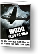 War Plane Greeting Cards - Wood Flies To War Greeting Card by War Is Hell Store