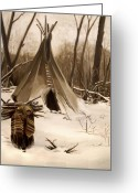 Winter Painting Greeting Cards - Wood Gatherer Greeting Card by Nancy Griswold