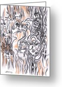 Daydream Greeting Cards - Wood grain Greeting Card by Regina Valluzzi
