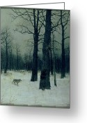 1860 Greeting Cards - Wood in Winter Greeting Card by Isaak Ilyic Levitan