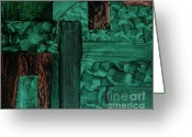 Darken Greeting Cards - Wood Rustic Abstract Greeting Card by Marsha Heiken