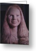 Portraiture Pyrography Greeting Cards - Wood Sculpture Greeting Card by John Balestrino