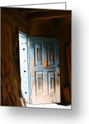 Elizabeth Rose Greeting Cards - Wood Workers Door in Truchas New Mexico Greeting Card by Elizabeth Rose