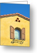 Turquoise And Brown Greeting Cards - Woodbury Windows No 1 Greeting Card by Ben and Raisa Gertsberg