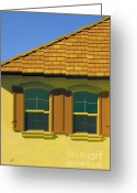 Turquoise And Brown Greeting Cards - Woodbury Windows No 2 Greeting Card by Ben and Raisa Gertsberg