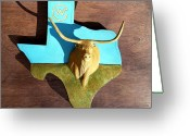 Woodworking Reliefs Greeting Cards - Woodcrafted Home on the Range Greeting Card by Michael Pasko