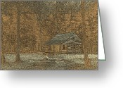 Cabin Window Greeting Cards - Woodcut Cabin Greeting Card by Jim Finch