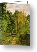 Sunny Painting Greeting Cards - Wooded Path Greeting Card by Claude Monet