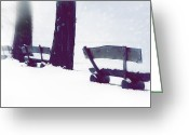 Benches Greeting Cards - Wooden Benches In Snow Greeting Card by Joana Kruse