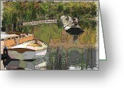 Dark Grey Greeting Cards - Wooden Boat Placid Greeting Card by Tim Allen