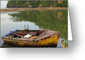 Williams Greeting Cards - Wooden Boat- St Lucia Greeting Card by Chester Williams
