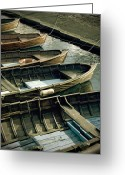 Reflection Greeting Cards - Wooden Boats Greeting Card by Joana Kruse
