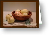Wooden Bowls Greeting Cards - Wooden Bowl with Apples-I Greeting Card by Patricia Overmoyer