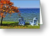 Stillness Greeting Cards - Wooden chairs on autumn lake Greeting Card by Elena Elisseeva