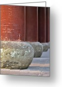 Conformity Greeting Cards - Wooden Columns And Stone Bases Greeting Card by Tom Horton, Further To Fly Photography