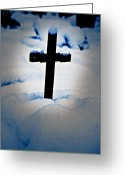 Thriller Greeting Cards - Wooden Cross Greeting Card by Joana Kruse