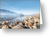 Vapor Greeting Cards - Wooden Dock Over Lake Greeting Card by Laverrue Was Here