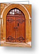 Tower Of London Greeting Cards - Wooden Door at Tower Hill Greeting Card by Christi Kraft