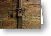 Old Lock Greeting Cards - Wooden door Greeting Card by Bernard Jaubert
