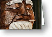 Whittle Greeting Cards - Wooden Head with Cigarette Greeting Card by Kathy Clark