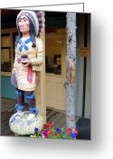 Wood Sculpture Greeting Cards - Wooden Indian Greeting Card by Mindy Newman
