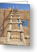 Taos Pueblo Greeting Cards - Wooden Ladder Against an Adobe Building Greeting Card by Bryan Mullennix