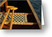 Paddles Greeting Cards - Wooden Paddles Inside A Canoe Greeting Card by Kate Thompson